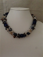 sterling silver necklace-lapis/pearl