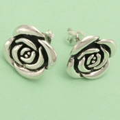 sterling silver rose earring
